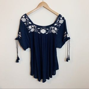 Lucky Brand | Navy & White Floral Embroidered Top